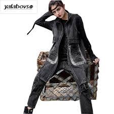 2018 yalabovso 2017 punk styles jacket sleeveless oversized denim vest women sequin boyfriend ripped jeans vest long waiscoata031 z20 from synthetic