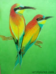 drawing a bird using oil pastels step 6