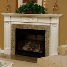 gorgeous picture of living room decoration using cream granite fireplace surround including white wood mantel shelf over fireplace and small artificial