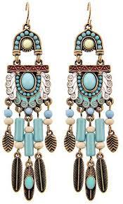 western theme feather chandelier earring set light blue
