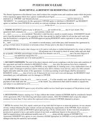 Basic Rental Agreement Or Residential Lease Filled Out Puerto Rico