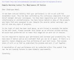 Written Verbal Warning Sample Sample Warning Letter For Negligence Of Duties