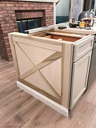 adding diy kitchen island trim to basic builder grade cabinets kitchen island ideas modern