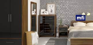 range bedroom furniture. london walnut and black gloss bedroom furniture range
