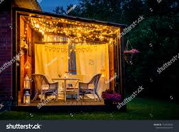 View Over Cozy Outdoor Terrace Table Stock Photo Edit Now