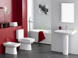 red bathroom color ideas. Grey Ceramic Floor With White Pedestal Sink For Modern Bathroom Decorating Ideas Red Accent Wall Color