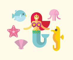 Design Mermaid Flat Mermaid Illustration Vector Vector Art Graphics