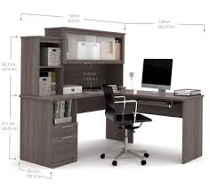 l shaped office desk with hutch. Delighful Hutch Modern Bark Gray Lshaped Desk And Hutch With Frosted Glass Doors On L Shaped Office With W