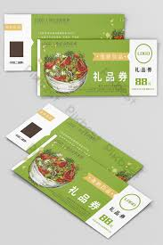 Green Hand Drawn Style Ingredients Gift Card Template Design