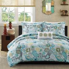 light blue comforters set cool mizone tamil paisley blue comforter collection the home blue green