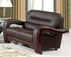 eurodesign brown contemporary leather loveseat gflbn