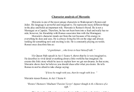 character analysis of mercutio gcse english marked by teachers com document image preview