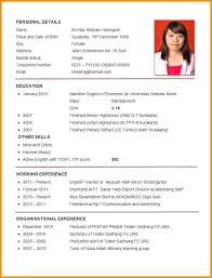Resume Template Resume Format Sample For Job Application