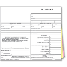 Auto Dealer Bill Of Sale Forms Style 2