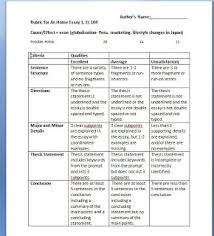 cause and effect essay rubric co cause and effect essay rubric