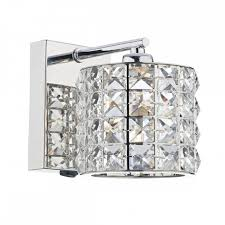 decorative modern wall light in chrome with crystal bead shade