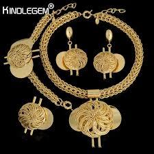 kindlegem fashion big african wedding bridal costume jewelry sets dubai indian gold color long big pendant necklace sets women wedding ring sets