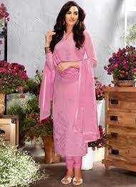 Designer Party Wear Churidar Hot Pink Embroidery Work Georgette Silk Designer Party Wear