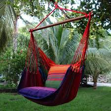 outdoor hanging furniture. Furniture. Colorful Striped Fabric Hammock With Puff  Connected By Brown Wooden Rod And Outdoor Hanging Furniture
