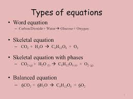 6 types of equations word equation skeletal equation carbon dioxide water glucose oxygen skeletal equation co2 h2o c6h12o6 o2 skeletal