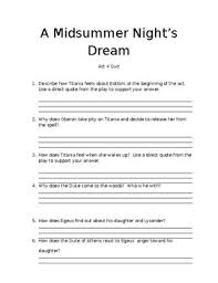 Midsummer Night\'s Dream Quotes Quiz Best Of A Midsummer Night's Dream Act 24 Quiz By Kelsey Byers TpT