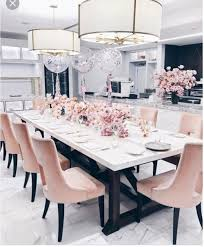 dining room decor blush gold marble