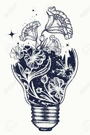 Light Bulb Tattoo And Art Nouveau Flowers T Shirt Design Symbol