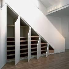 Interior Minimalist Under Stairs Storage Solution Coolest Steel Track  Lighting White Oak Pull Cupboard Five Different Cabinet White Doors Sleek  Laminate ...