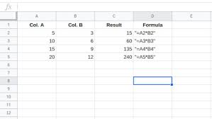 to multiply numbers in google spreadsheets