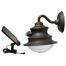 gama sonic barn 10 in h brown solar motion activated led outdoor wall light
