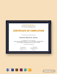 Certificate Of Training Completion Template Free Training Completion Certificate Template Word Psd