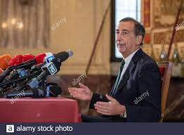 Mayor Beppe Sala during the press conference for his second term at Palazzo  Marino. Milan (Italy), October 5th, 2021 (Photo by Matteo  Rossetti/Mondadori Portfolio/Sipa USA Stock Photo - Alamy