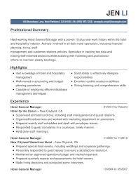 Hotel Hospitality Combination Resume Resume Help
