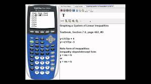 how to graph a system of linear inequalities using a or graphing calculator