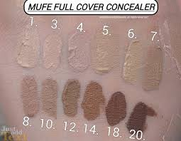makeup forever m u f e full cover concealer swatches of shades 1 pink porcelain 3 light beige 4 flesh 5 vanilla 6 ivory 7 sand 8 beige 10