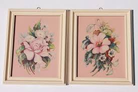 painted wood picture frames. Mid-century Vintage Boudoir Prints, Floral Pair In Painted Wood Frames, Shabby Cottage Chic Picture Frames