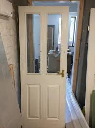 internal white clear glazed 4 panel moulded door in southsea molded glass birds moulded glazed fire door