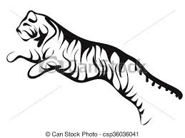 running tiger clipart black and white. Running Tiger Intended Clipart Black And White