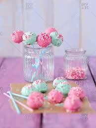 Pink And Mint Green Cake Pops Stock Photo Offset