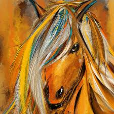 brown horse painting born free colorful horse paintings yellow turquoise by lourry legarde