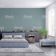 Moderne Schlafzimmer Innenraum Mit Leere Wand Für Textfreiraum