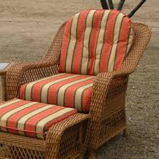 orange and brown striped pattern cushion pad set for wicker chair and ottoman