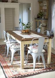 farm table with metal chairs lovely this look refinish dining top chalk paint for the legs