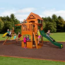 details about large outdoor wooden swing set playground slide backyard kids fitness gym fort