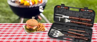 cuisinart 13 piece wooden grill tool set includes spatula brush tongs 4 stainless skewers 4 corn cob holders com