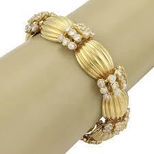 heavy 18k yellow gold ribbed link bracelet 9 00ct diamonds nfjyto992 diamond