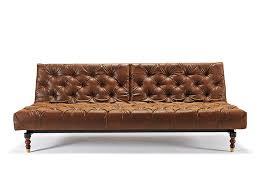Oldschool Chesterfield Vintage Brown Sofa Bed / Retro Legs