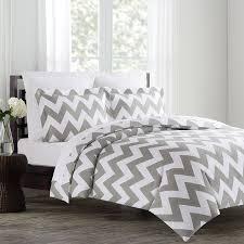 image of light grey king size bedding chevron