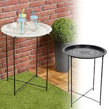 folding metal round bistro coffee table