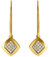 swarovski adore apparel gold plated pave crystal accented drop earrings